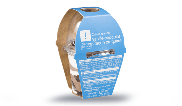 Crème glacée Vanille-chocolat-cacao craquant