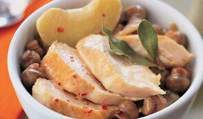 Poulet façon blanquette aux champignons et aux pommes