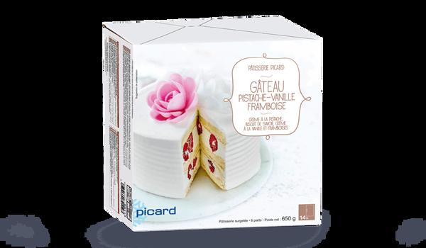 Gâteau Pistache Vanille Framboises, 6 parts