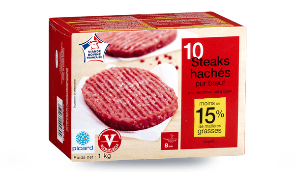 10 steaks hachés, 15% M.G maximum