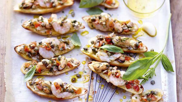 Mini-bruschetta aux fruits de mer
