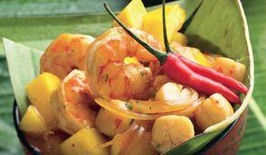 Poêlée de crevettes et Saint-Jacques aux mangues
