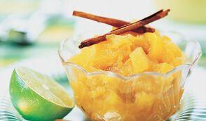 Compote de mangue, pomme, cannelle et citron vert