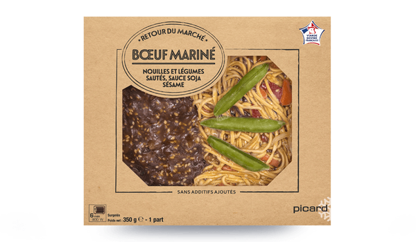 Boeuf mariné, nouilles, légumes sautés, sauce soja