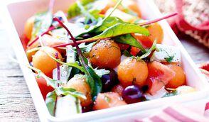 Salade de melon, pastèque à la menthe et feta