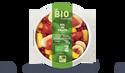 Bol de fruits bio, fraise, ananas,banane,groseille