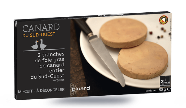 2 tranches de foie gras de canard, cuit au torchon