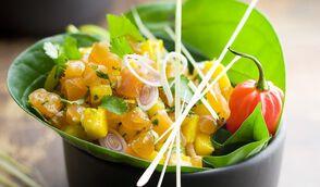 Tartare de saumon et de mangue à la citronnelle