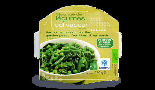 Bol vapeur haricots verts très fins, garden peas