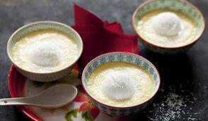 Soupe d'ananas à la thaï et sorbet coco