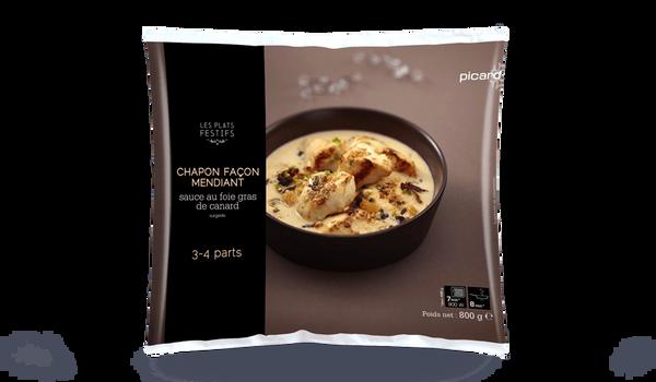 Chapon façon mendiant, sauce foie gras de canard