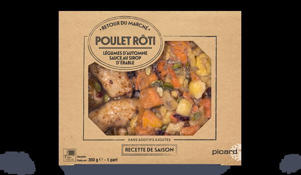 Poulet rôti, légumes d'automne