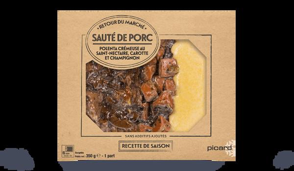 Sauté de porc, polenta crémeuse au Saint-Nectaire