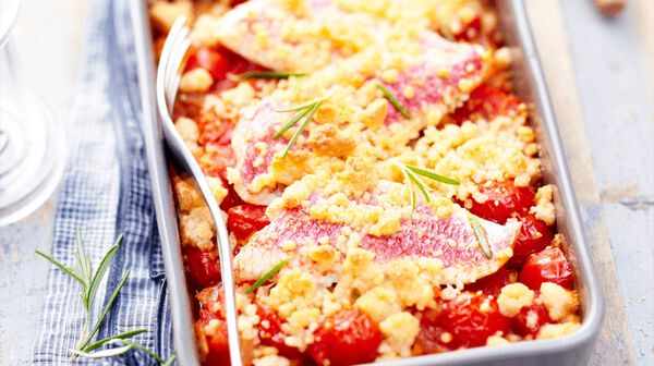 Crumble tomate-rouget