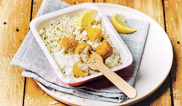 Bouchées de cabillaud panées et riz pilaf