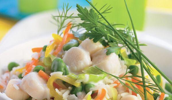 Saint-Jacques au lait de coco, légumes,riz basmati