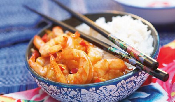 Crevettes sauce piquante et riz thaï (1 part)