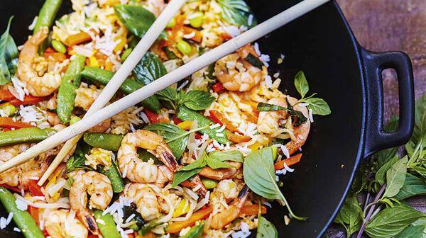 recette riz saut aux l gumes crevettes et basilic tha recettes les plats picard. Black Bedroom Furniture Sets. Home Design Ideas