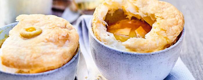 Crème de châtaigne-potimarron et foie gras en croûte