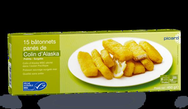 15 bâtonnets de colin d'Alaska MSC, pré-frits