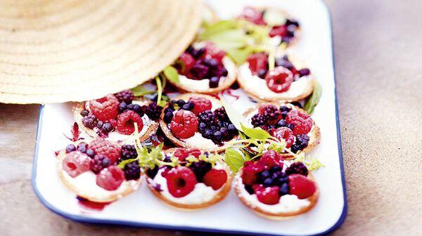 Tartelettes fruits rouges-basilic