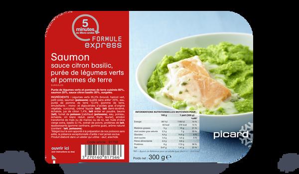Saumon sauce citron basilic, purée légumes verts