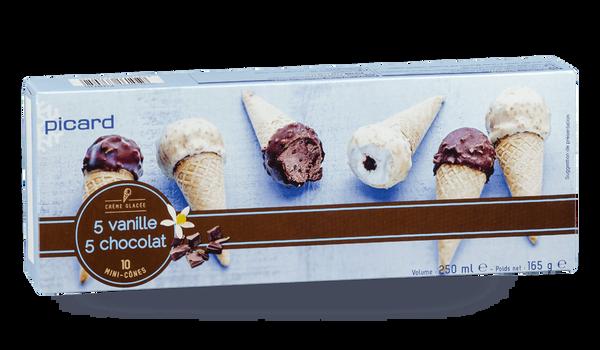 10 mini-cônes 5 vanille, 5 chocolat