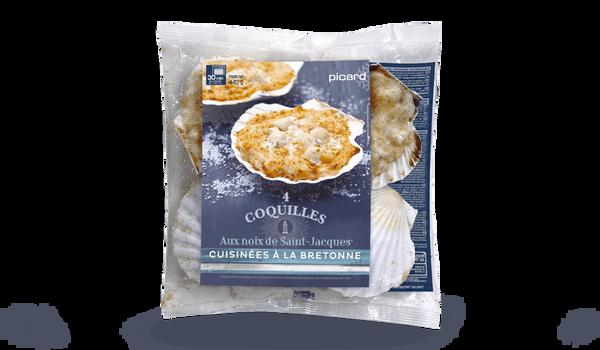 4 coquilles aux noix de St-Jacques, à la bretonne