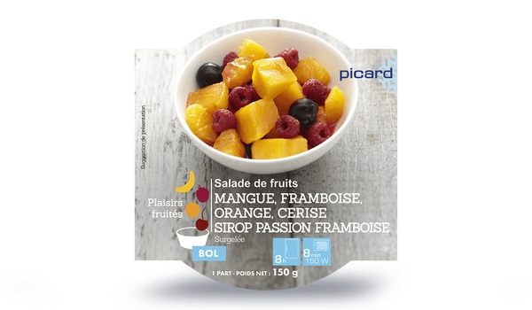 Salade de fruits mangue, framboise, orange, cerise