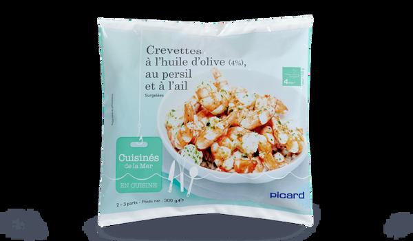 Crevettes à l'huile d'olive (4%) au persil,à l'ail