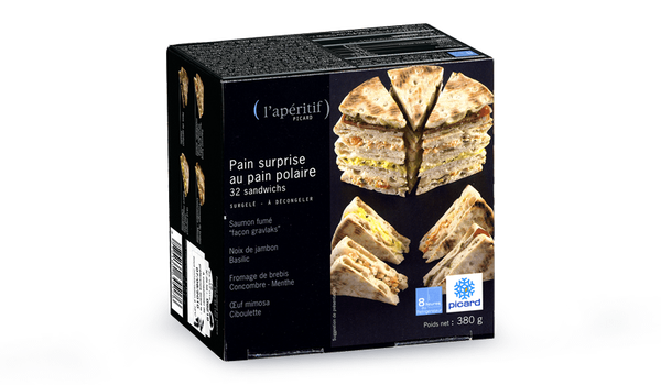 Pain surprise au pain polaire, 32 mini-sandwiches