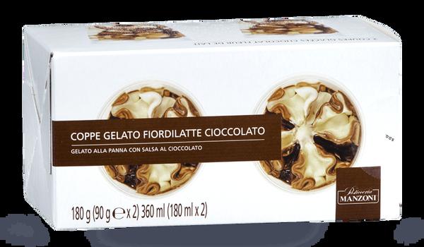 2 coupes glacées chocolat fleur de lait