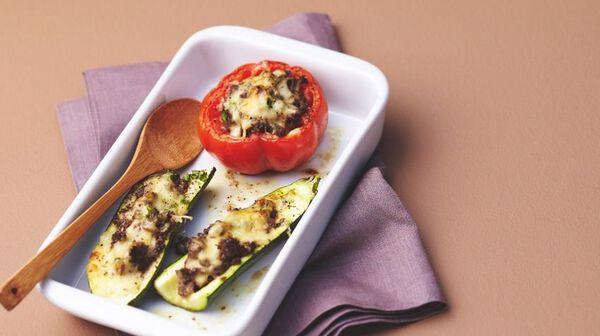 Légumes farcis aux champignons gratinés