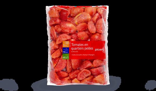 Tomates en quartiers pelées