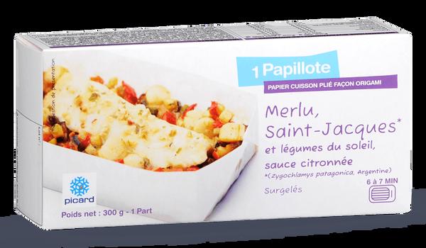 Papillote de merlu, St-Jacques, légumes du soleil
