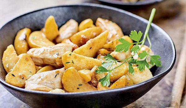 Poêlée de poulet, wedges façon rôtissoire