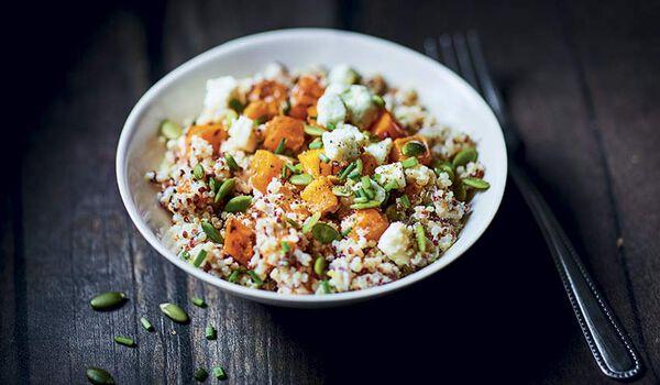 Salade quinoa blanc et rouge, courge butternut