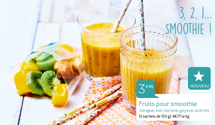 Fruits pour smoothie mangue, kiwi, banane, goyave, acérola