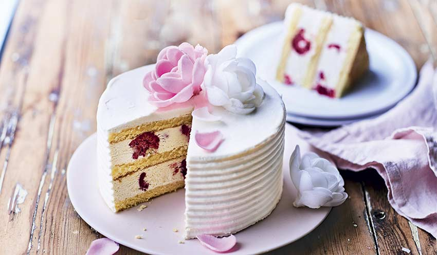 gâteau pistache vanille framboises surgelés - les pâtisseries - picard