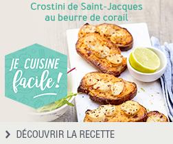 Crostini de Saint-Jacques au beurre corail