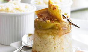 Riz au lait à la rhubarbe et caramel au beurre salé