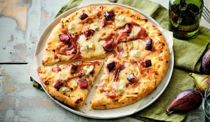Pizza figue, Gorgonzola, jambon cru italien