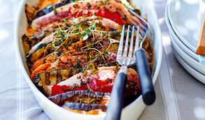 Tian de rouget aux légumes grillés