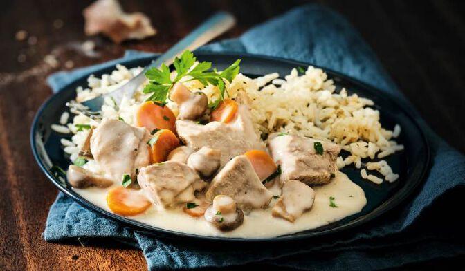 Blanquette de veau à la crème d'Isigny et riz cuisiné