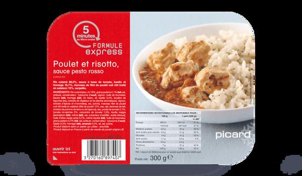 Poulet et risotto, sauce pesto rosso