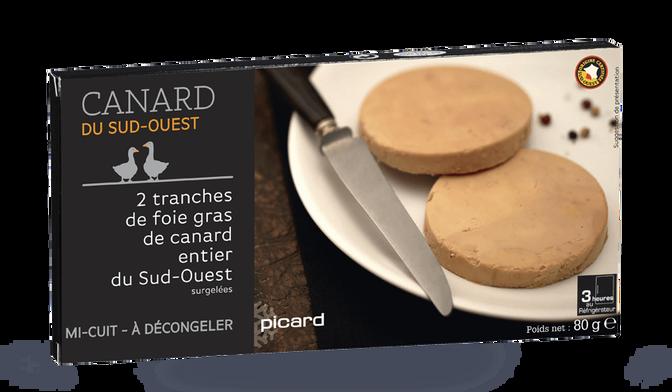 Foie gras de canard entier du Sud-Ouest cuit au torchon, 2 tranches