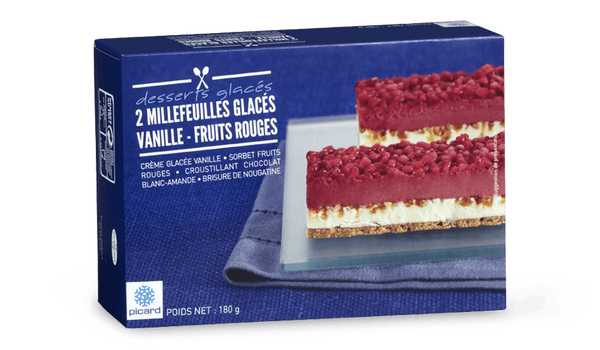 2 millefeuilles glacés vanille-fruits rouges