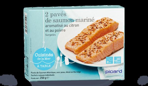 2 pavés de saumon mariné aromatisé au citron