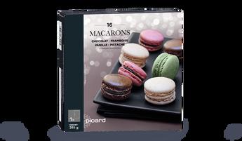 16 macarons chocolat, framboise, vanille, pistache