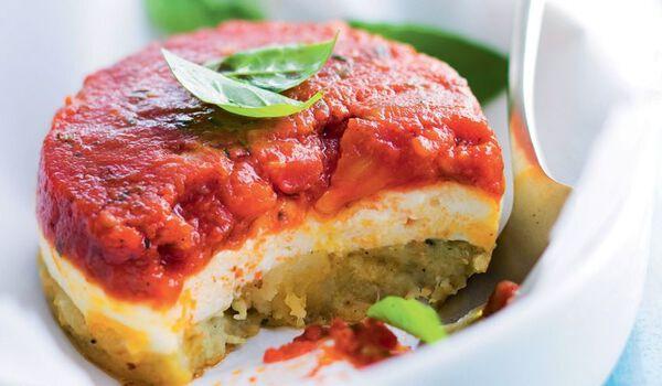2 fondants tomate-fromage de chèvre-courgette